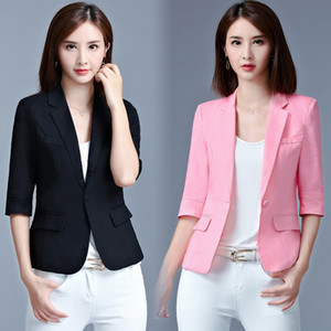 Female summer autumn suit jacket thinner slim three quartar sleeve leisure suit jacket