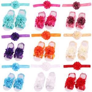 신생아 꽃 쉬폰 머리띠 아기 소녀 맨발로 샌들과 머리띠 세트 신발 어린이 얇은 명주 그물 발 장식품 아동 유아 꽃 양말
