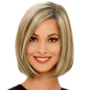 Günstige Kurze Bob Perücke Gerade Synthetische Haar Perücken Medium Side Bang Perücke für Frauen Ombre Blonde Brown mit Free Hair Net