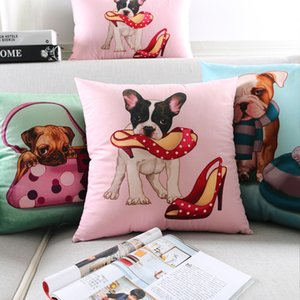 Dog Cushion Cover Playing Dog Supersoft Pillow Cover 6 Styles Telephone High Shoes Pillow Cases Bedroom Sofa Decoration