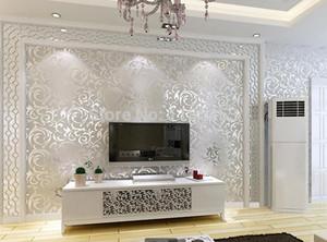 L'oro all'ingrosso / argento / beige 3 Moderno rotolo di carta da parati 3d murale papel de carta da parati floreale parede Papel Decorativo per soggiorno 5.3x10M