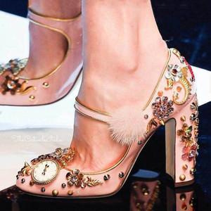 2017 de lujo de las mujeres de la vendimia bombas de tacones altos elegante fiesta de noche zapatos formales reloj flor de los remaches diamante dulce princesa vestido de novia zapatos