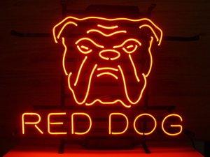 "17 ""X14""RED DOG 라거 CUSTOM REAL 유리관 네온 빛 BEER BAR PUB 클럽 STORE 표시 SIGN"