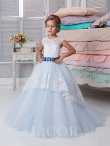First Communion Dresses for Little Girls 2019 Licor with Sash and Lace Up Back Appliques Tulle Light Sky Blue Girls Birthday Dress