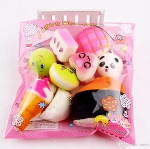 Hot10pcs / lot squishies giocattolo lento aumento squishy arcobaleno dolciumi gelato torta pane pane fragola fascino telefono cinghie morbido frutta giocattoli