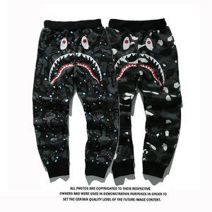 Uomo Abbigliamento sportivo Pantaloni Jogger tuta causel Fleece girocollo nero Drake Hip Hop Stusay degli uomini dello squalo Bocca Uminous Pantaloni Taglie S-2XL