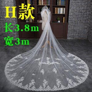 Free Shipping! White 4 Meters Long Train Lace Applique Edge Veils Bridal Veils V419001