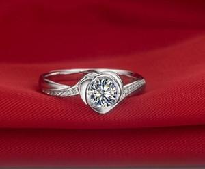 سريع شحن مجاني القلب زهرة رومانسية الإعلان 1 ط م سونا الاصطناعية خاتم الماس للنساء 925 المشاركة 18 كيلو الذهب الأبيض مطلي