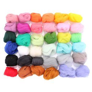 36 Pcs Multi Colors Merino Wool Felt Fibre Woolen Yarn for DIY Doll Needle Felting Wool Hand Spinning Needlework Raw Wool Roving