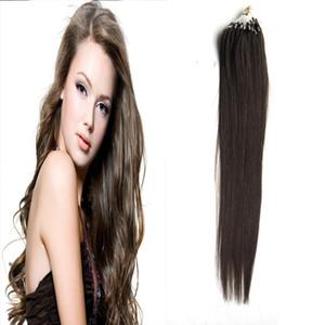Micro Loop Hair Extensions Dark Brown human hair 100g Loop Ring Links Remy Straight 100% Real Hair 100 strands