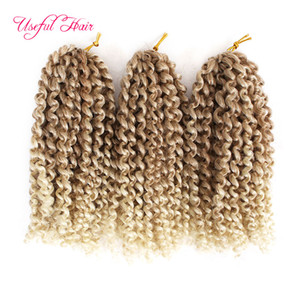 "Malibob synthetic hair extension ombre Braids hair 8"" 3Pcs set 90g 1B 27crochet braids Twist for black women Kinky Curly marlybob Hair"
