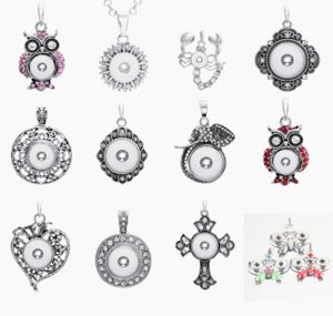 Brand New Fashion Strass Argent Interchangeable DIY 12mm MINI noosa Snap Bouton Charme Pendentif Colliers en gros lots