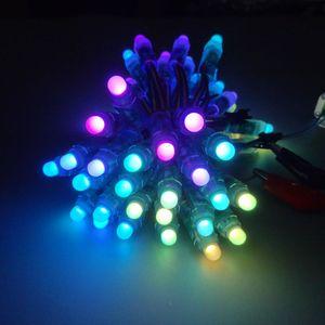 100pcs12mm WS2811led 화소 단위,IP68 방수 DC5V 풀 컬러 RGB50pcs 문자열 크리스마스 LED 빛 주소 지정 가능한 새로운 ws2801