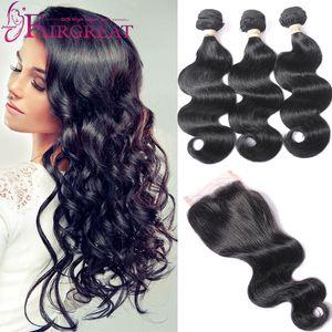 Объемная волна бразильские волосы пучки с закрытием 3Bundles бразильского Виргинские волос с Закрытие бразильского человеческих волос кружева закрытия