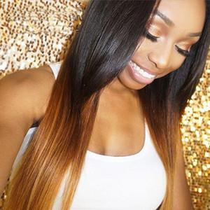Bythair glueless ombre cor humano cabelo peruca reta parte médio lace dianteira perucas de cabelo humano com styline natural perucas de renda completa em estoque