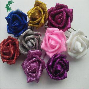 Rose Flower Heads Matrimonio Decorativo Rosa Schiuma di scintillio artificiale PE Fiori artificiali per la decorazione Rose Head Party DIY Kissing Ball