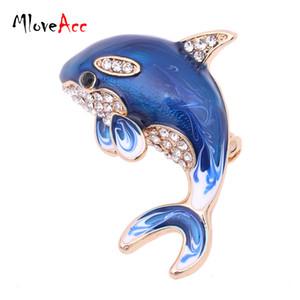 Toptan-MloveAcc Moda Takı Mavi Emaye Kristal Yunus Broş Pin Erkekler Kadınlar için Broş Düğün Rhinestone Broşlar