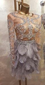 Great Gatsby vestido de noite celebridade vestido de avestruz de manga longa cristais Yousef aljasmi Kim kardashin Labourjoisie vestidos de baile