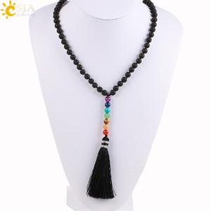 CSJA Natural Black Lava Rocha Pedra Vulcânica Beads Longo Colar 7 Chakra Borla Pingentes Mala Oração Mulheres Homens DIY Jóias de Meditação E494