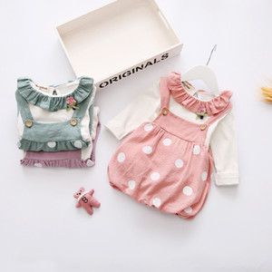 Newborn Kids Baby Girls clothes Plaid strap Ruffle Skirts round neck long sleeve solid Shirt 2pc Toddler lovely Outfits