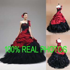 Vestidos de boda de la bola del vestido gótico de la imagen real Apliques de encaje de un solo hombro negro y rojo 2019 Quinceanera vestido de fiesta nupcial de calidad superior de la vendimia