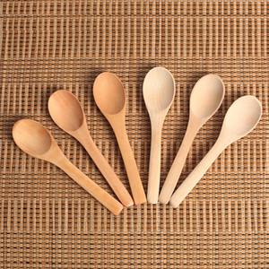 Natural Bamboo Jam colher profunda Boca madeira mel Ice Cream Coffee Spoons Mini Colher de Chá Utensílio 0 56qj F R