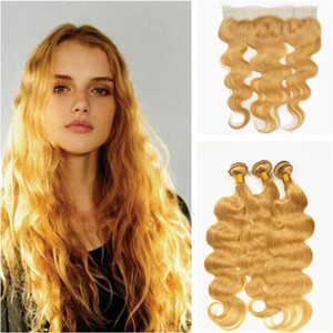 Body Wave Honey Blonde Frontal de encaje con paquetes de 9A Virgen cabello humano brasileño con cierre frontal de encaje de oreja a oreja 4 Unids / lote