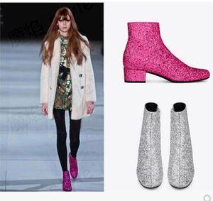 2017 Bota Feminina Luxury Designer Runway Shoes Tacco basso Shining Glitter Booties oro argento stivaletti donne bling scarpe da sposa