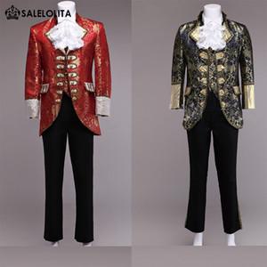 Al por mayor de gama alta rojo / Glod Hombres Príncipe William Trajes 4 Establece floral renacimiento medieval Rey Louise Traje Traje de época (chaqueta + pant + vest)