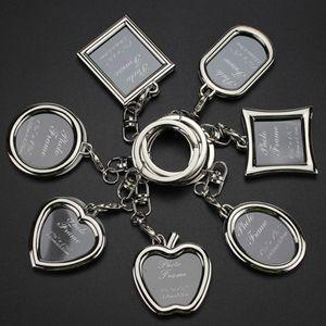 Mode Schlüsselanhänger mit Medaillon Fotorahmen - 6 Form, einfügen Bilderrahmen Schlüsselring Schlüsselbund Schlüsselhalter