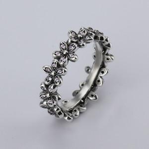 Venta al por mayor nueva forma de flor dulce 925 de plata tailandesa creativa con el partido de las mujeres anillos de la joyería de la manera clara CZ Bow Ring Fit Pandora anillo de mujer