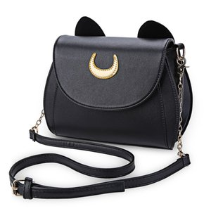 Wholesale-Hot Sale Black Sailor Moon Ladies Handbag PU Leather Women Messenger Crossbody Small Bag Women  Cat Shape Chain Shoulder Bag