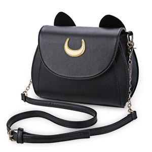 Bolsa por mayor-venta caliente Negro Sailor Moon señoras del bolso del cuero de la PU mensajero de las mujeres Crossbody Pequeño bolso de las mujeres del gato en forma de cadena del hombro