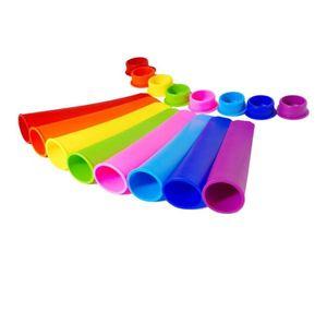 Molde de silicona de 15 * 3.5cm Ice Pop Molde de paletas de 7 colores Molde con tapa Fabricantes de helados Push Up Ice Cream Jelly Lolly Pop para paletas