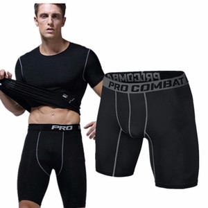 Toptan-Spor salonu şort siyah Kısa Erkekler Koşu sıkıştırma şort Sweatpants Vücut Geliştirme Savaş Kuru Eğitim Tayt erkekler kısa pantolon