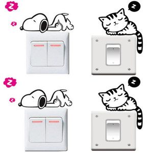 5PC Funny Cat Dog Removable Art Vinyl Switch Sticker Home Wall Window Decor NEW