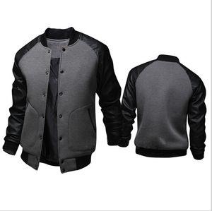 Venta al por mayor- 2016 nuevos hombres de la chaqueta de la primavera hombres de la llegada que cosen las chaquetas impermeables del cuero de la PU Chaqueta del chándal de los hombres Ropa deportiva Abrigos Outwear