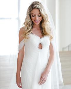 Sevgiliye Kapalı Omuz Mermaid Tül Keyhole Ön Seksi Uzun Gelinlikler Pleats vestido de novia sirena