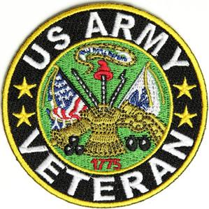 Envío gratis personalizada izquierda pecho bordado veterano ejército de los ee.uu. patch hierro costura en la espalda de la chaqueta y T-mierda o sombrero