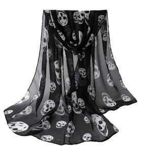 Crâne de filles foulard Womens gros-Automne imprimé noir long foulard doux châle foulard à col de filles