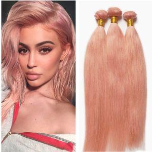 핑크 머리카락 묶음 로즈 골드 스트레이트 머리 Wefts 브라질 인간의 스트레이트 핑크 머리카락 확장 3pcs / lot