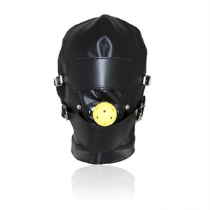 Top Grade Leather Sex Toys Headgear With Mouth Ball Gag BDSM Erotic Leather Sex Hood para hombres Juegos para adultos Sex SM Máscara para fiesta Cosplay