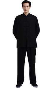 Xangai História Blend Linen artes marciais chinês kung fu set homens chineses Tai chi terno de manga comprida camisa + calças de linho uniforme de kungfu 2 cor