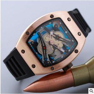 Caldo Richard Miller Luxury Men Watch Fashion Hollow Silica Gel con quarzo con orologio trapano testa fantasma