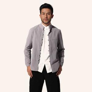 Wholesale- Gray Chinese Style Men Cotton Linen Jacket Long sleeve Coat  Tang Suit Top Casual Outwear M L XL XXL XXXL MJ057