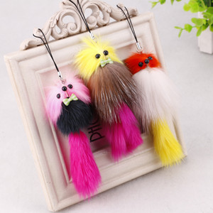 2016 new real rabbit fox fur plush hang act the role of the mobile phone's accessories plush bags wholesale car accessories