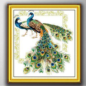 Sorte pavões aves animais home decor pintura, Handmade Cross Stitch bordado Needlework define contados impressão sobre tela DMC 14CT / 11CT