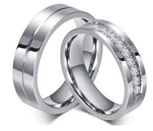 Fede nuziale 6mm in acciaio inossidabile 316L Coppia anelli / fedi nuziali Anelli per donne / uomini Amano i gioielli in acciaio inossidabile CZ Promise