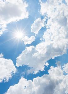 3D 천장 사용자 정의 3D 푸른 하늘과 흰 구름 천장에 대한 빛나는 하늘 벽지 3D 벽지 거실 천장 현대