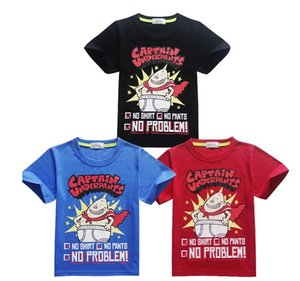 Captain underpants Children Summer Clothing Boys Short Sleeve T-shirts Cotton Cartoon Tops Kids Fashion Summer Tees